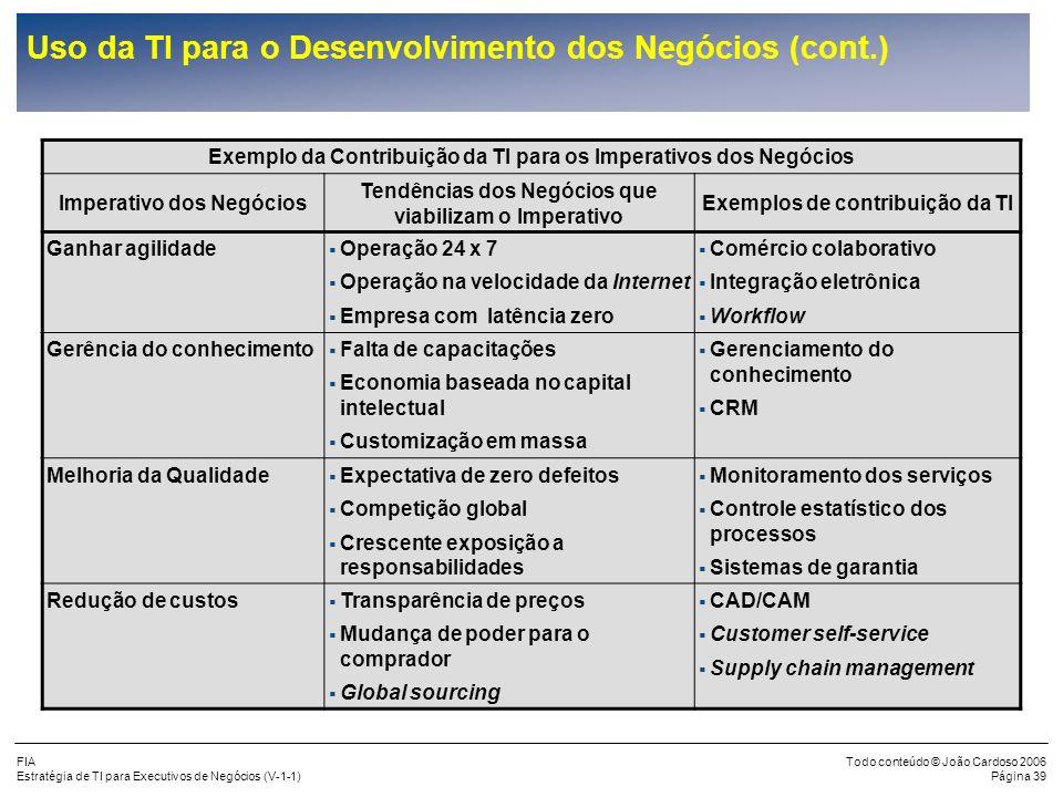Uso da TI para o Desenvolvimento dos Negócios (cont.)