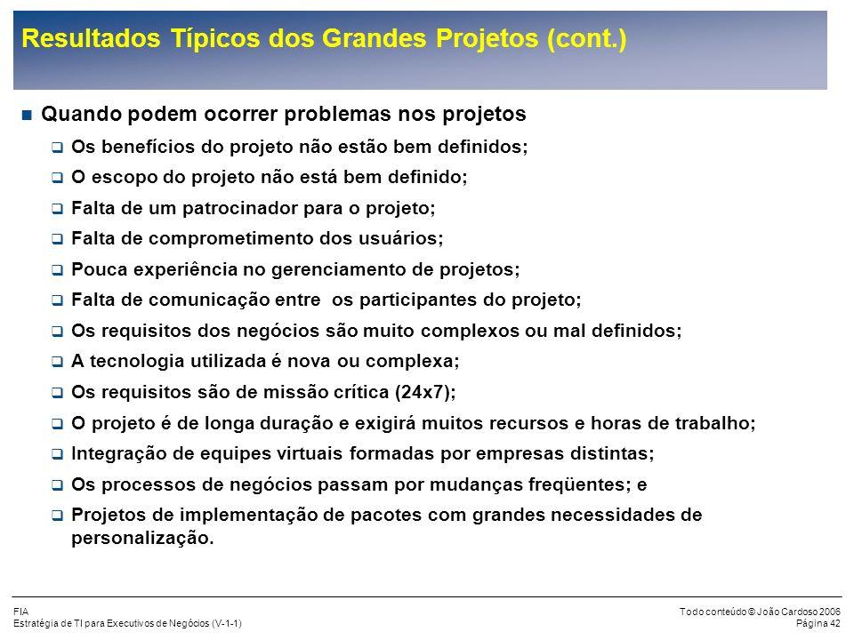 Resultados Típicos dos Grandes Projetos (cont.)