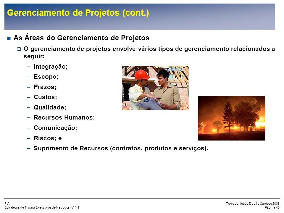 Gerenciamento de Projetos (cont.)