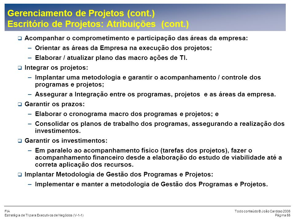 Gerenciamento de Projetos (cont