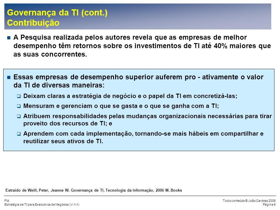 Governança da TI (cont.) Contribuição