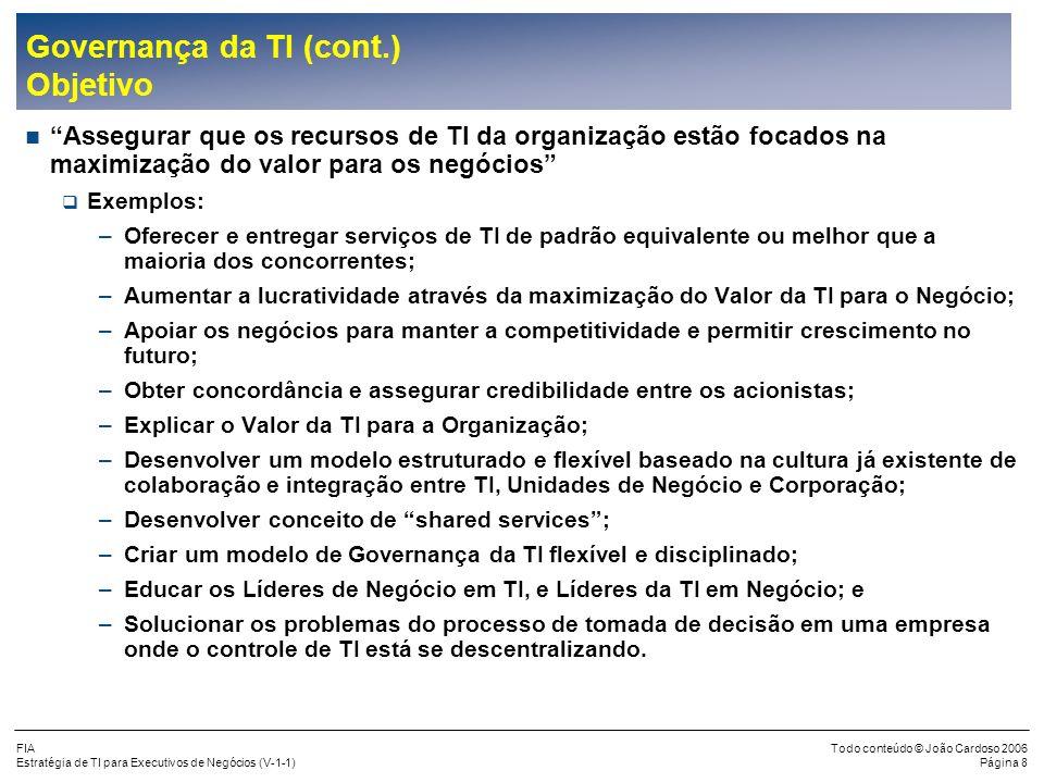 Governança da TI (cont.) Objetivo
