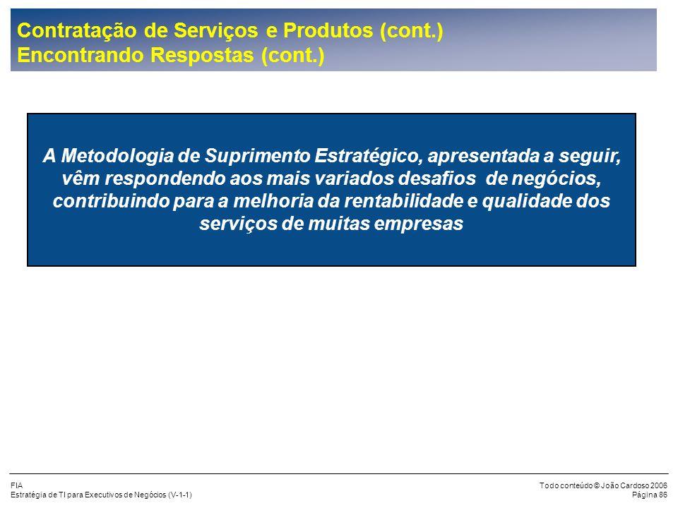 Contratação de Serviços e Produtos (cont.) Encontrando Respostas (cont.)