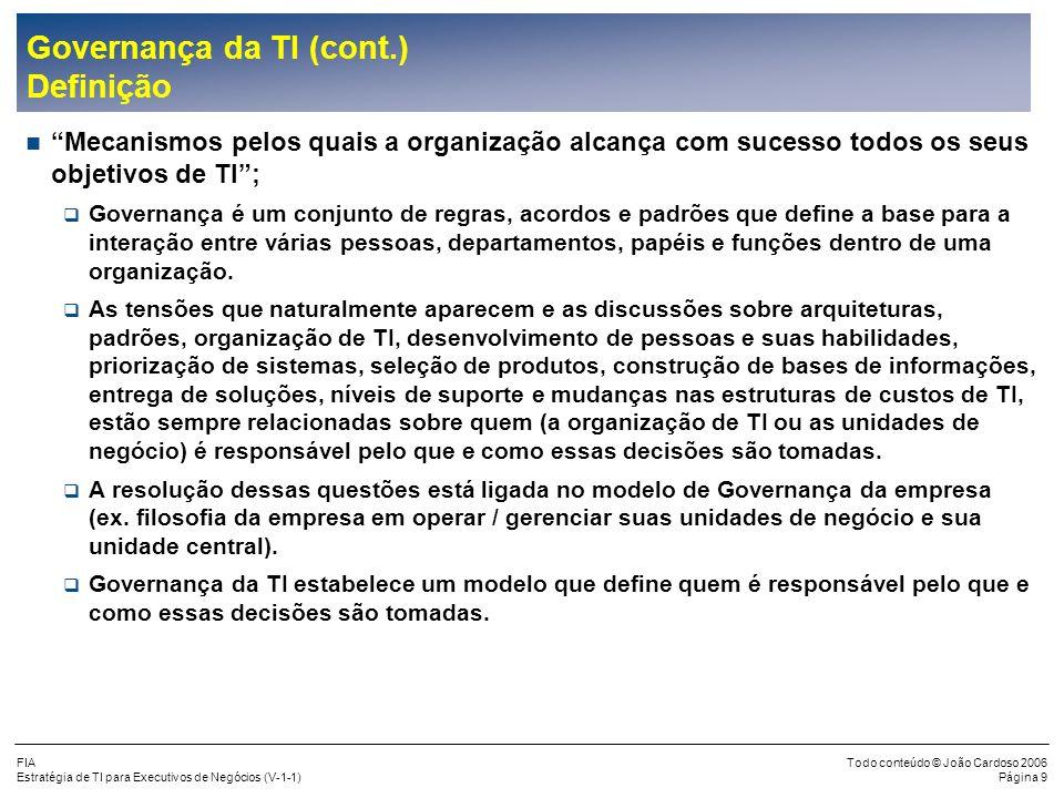 Governança da TI (cont.) Definição