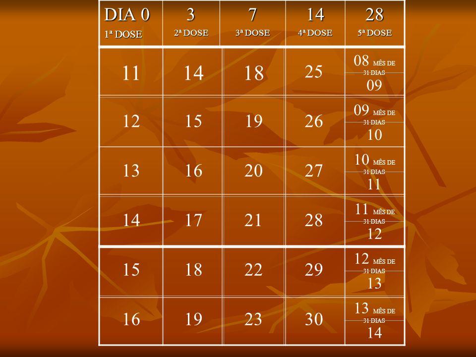 DIA 0 1ª DOSE. 3. 2ª DOSE. 7. 3ª DOSE. 14. 4ª DOSE. 28. 5ª DOSE. 11. 14. 18. 25. 08 MÊS DE 31 DIAS.