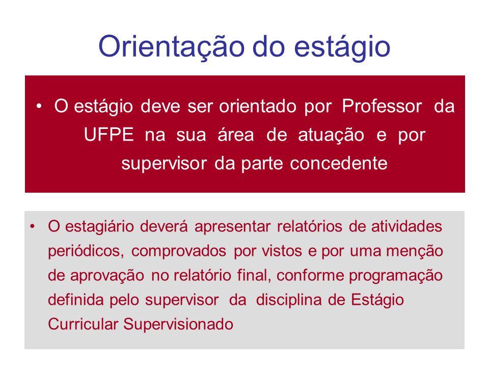Orientação do estágioO estágio deve ser orientado por Professor da UFPE na sua área de atuação e por supervisor da parte concedente.