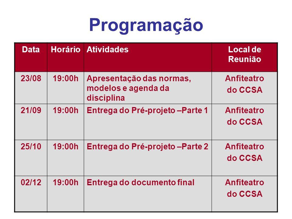 Programação Data Horário Atividades Local de Reunião 23/08 19:00h