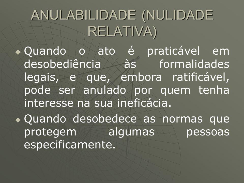 ANULABILIDADE (NULIDADE RELATIVA)