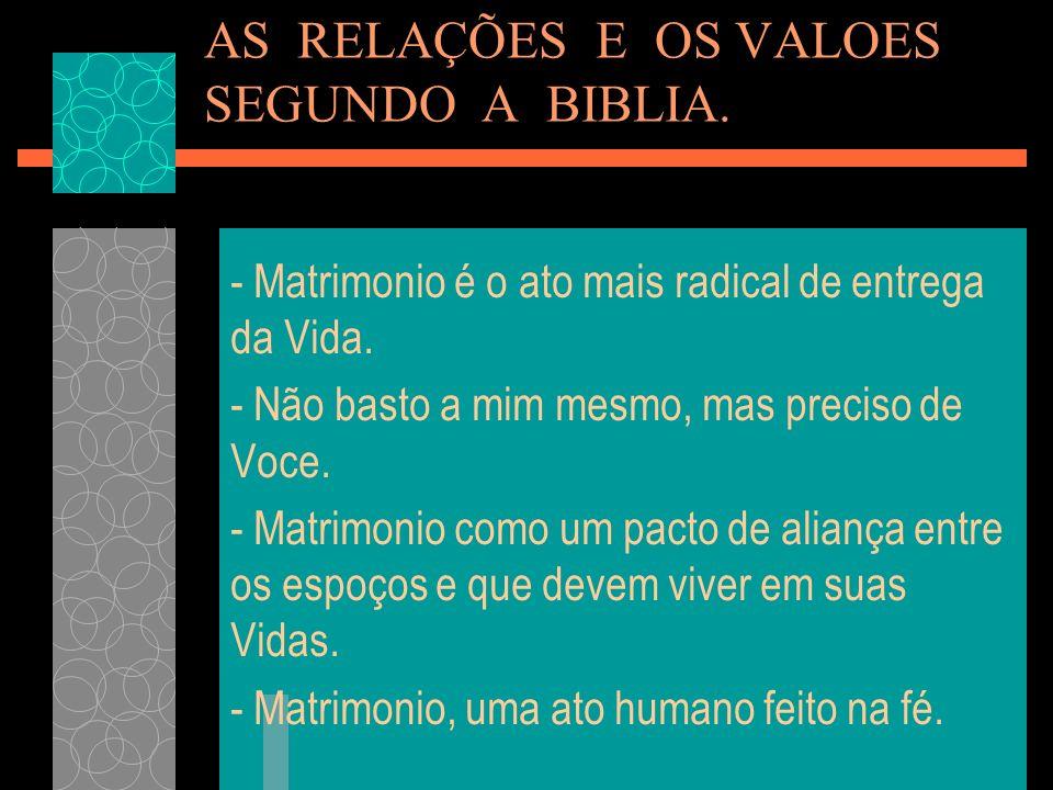 AS RELAÇÕES E OS VALOES SEGUNDO A BIBLIA.