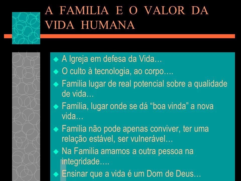 A FAMILIA E O VALOR DA VIDA HUMANA