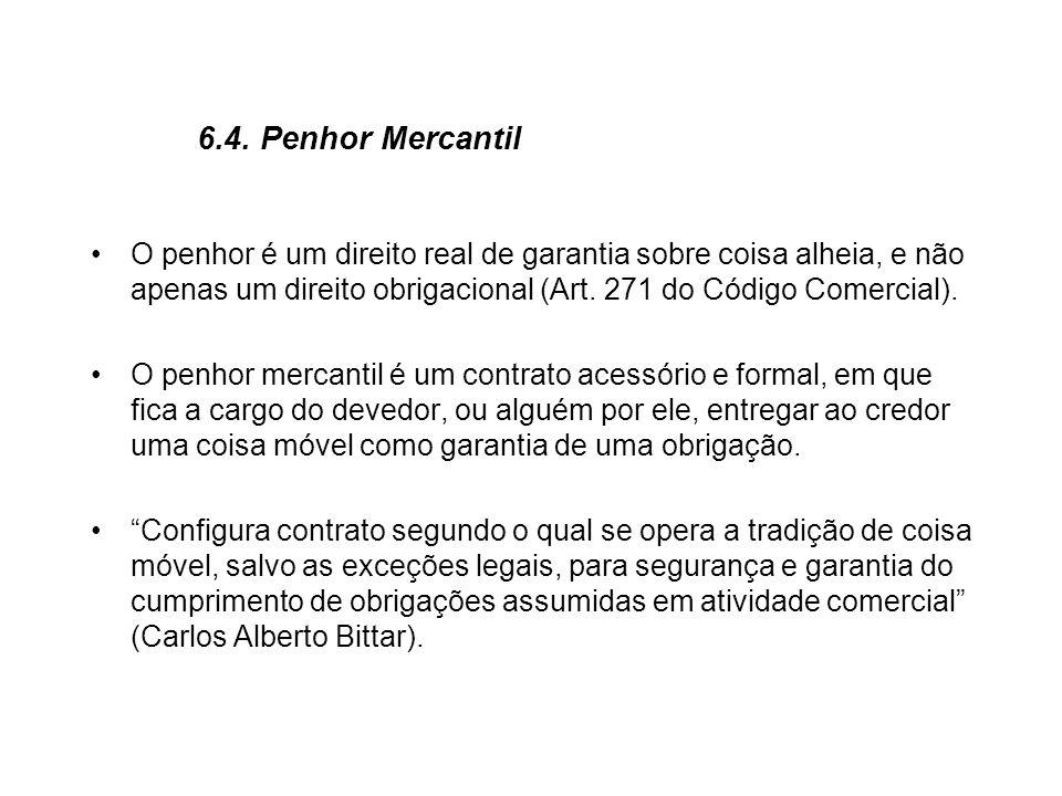 6.4. Penhor MercantilO penhor é um direito real de garantia sobre coisa alheia, e não apenas um direito obrigacional (Art. 271 do Código Comercial).