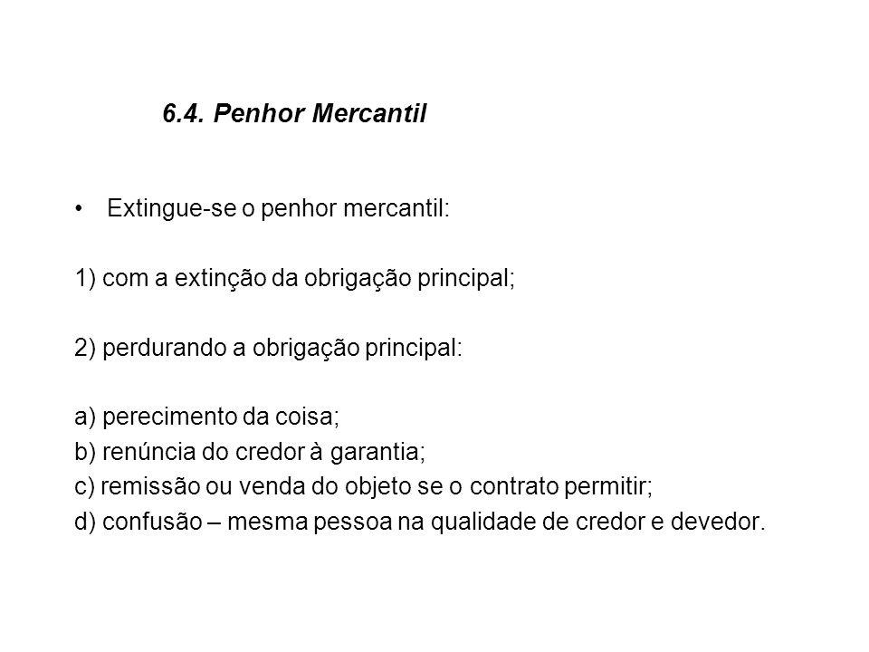 6.4. Penhor Mercantil Extingue-se o penhor mercantil: