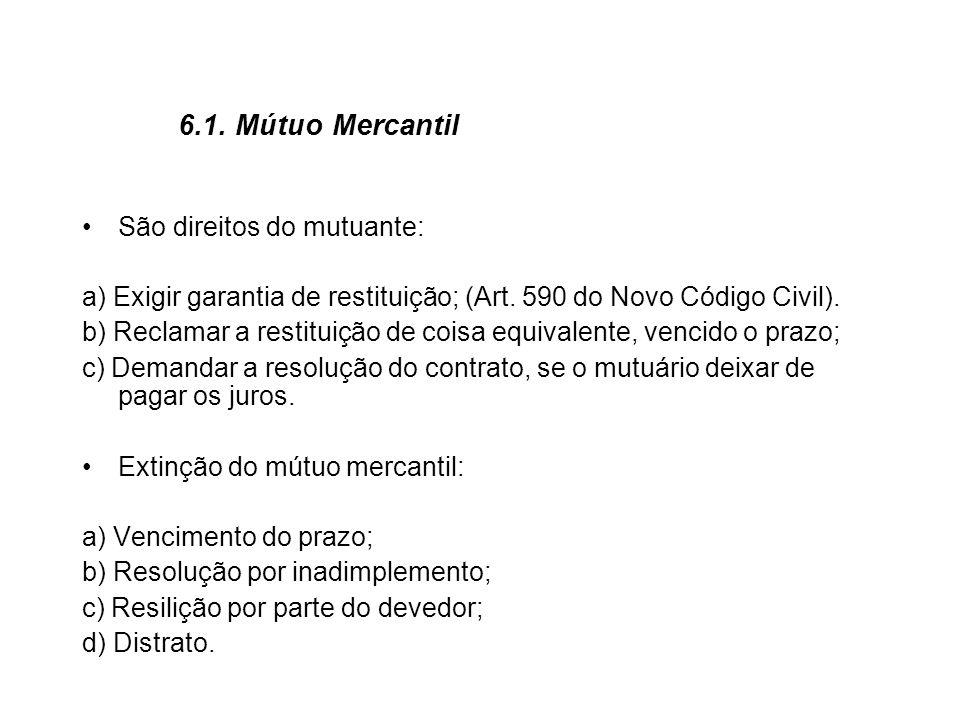 6.1. Mútuo Mercantil São direitos do mutuante: