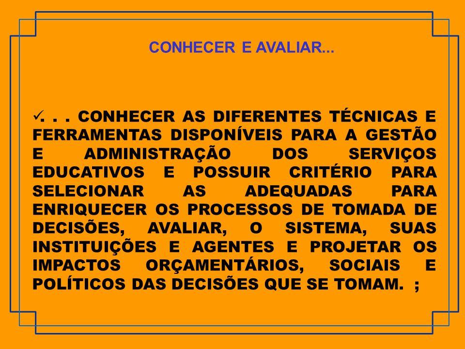 CONHECER E AVALIAR...