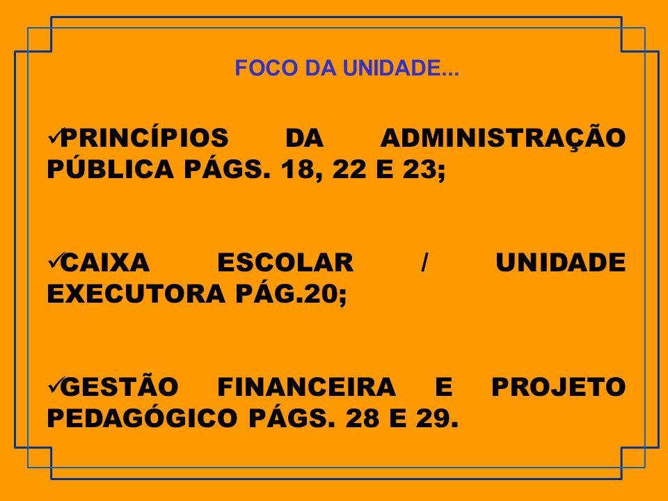 PRINCÍPIOS DA ADMINISTRAÇÃO PÚBLICA PÁGS. 18, 22 E 23;