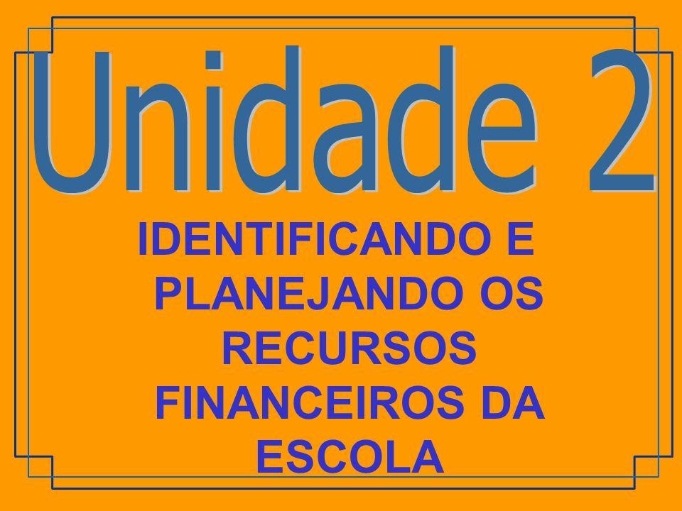 IDENTIFICANDO E PLANEJANDO OS RECURSOS FINANCEIROS DA ESCOLA