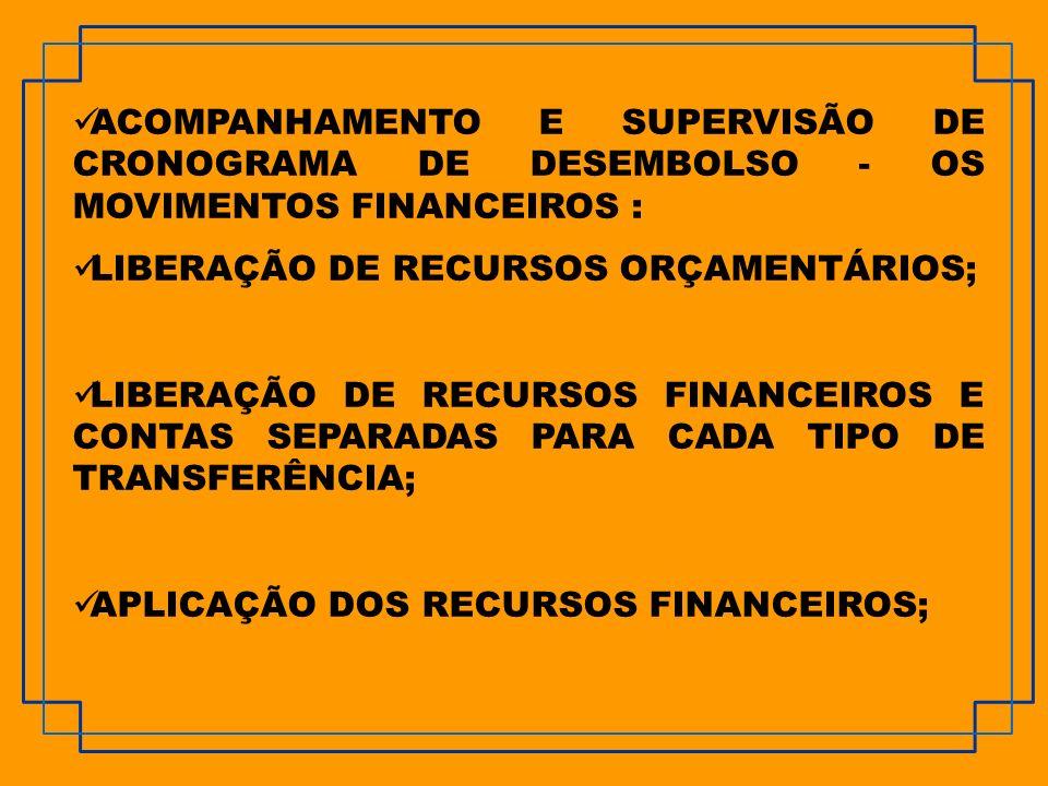 ACOMPANHAMENTO E SUPERVISÃO DE CRONOGRAMA DE DESEMBOLSO - OS MOVIMENTOS FINANCEIROS :