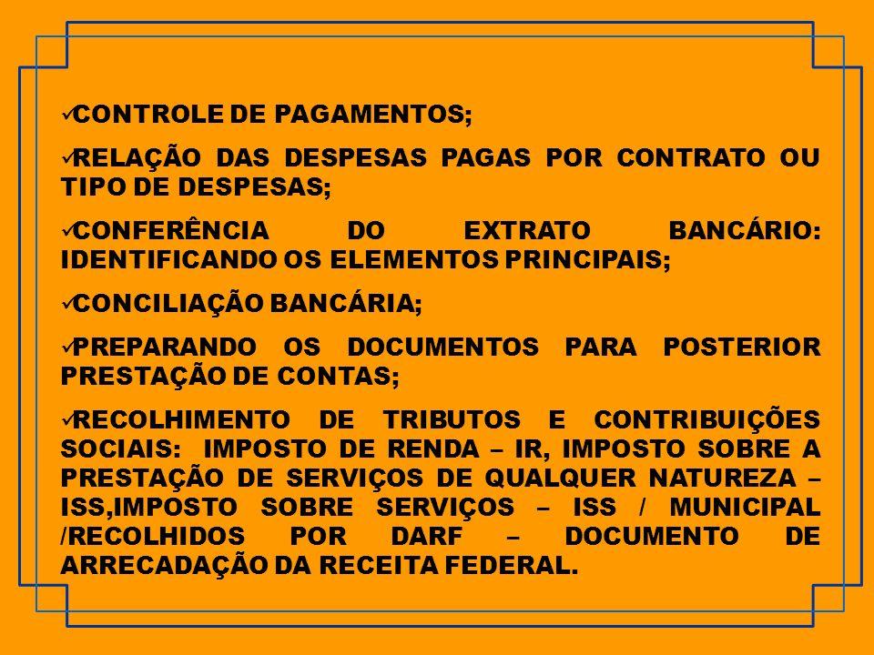 CONTROLE DE PAGAMENTOS;