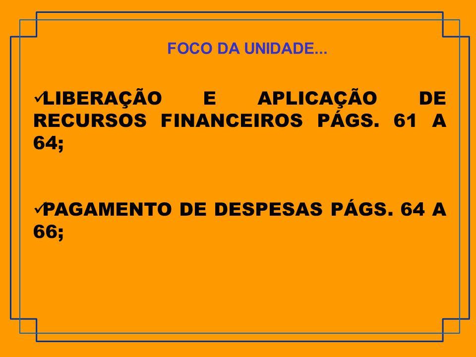 LIBERAÇÃO E APLICAÇÃO DE RECURSOS FINANCEIROS PÁGS. 61 A 64;