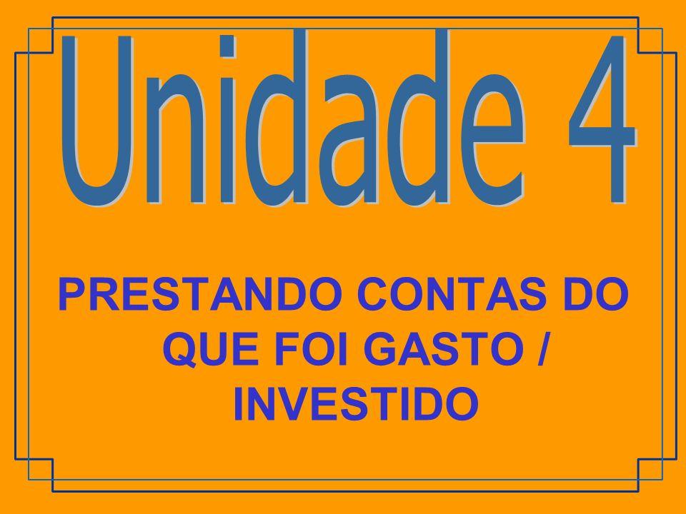 PRESTANDO CONTAS DO QUE FOI GASTO / INVESTIDO