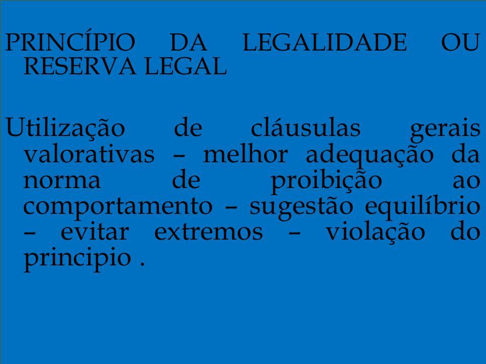 PRINCÍPIO DA LEGALIDADE OU RESERVA LEGAL