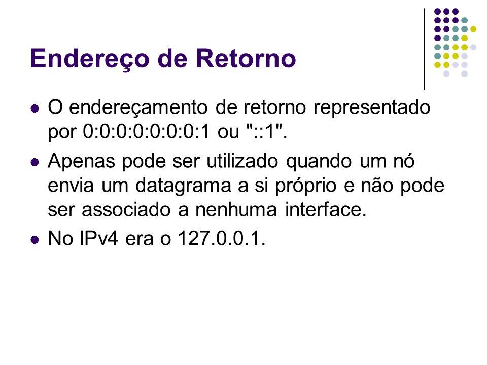 Endereço de RetornoO endereçamento de retorno representado por 0:0:0:0:0:0:0:1 ou ::1 .