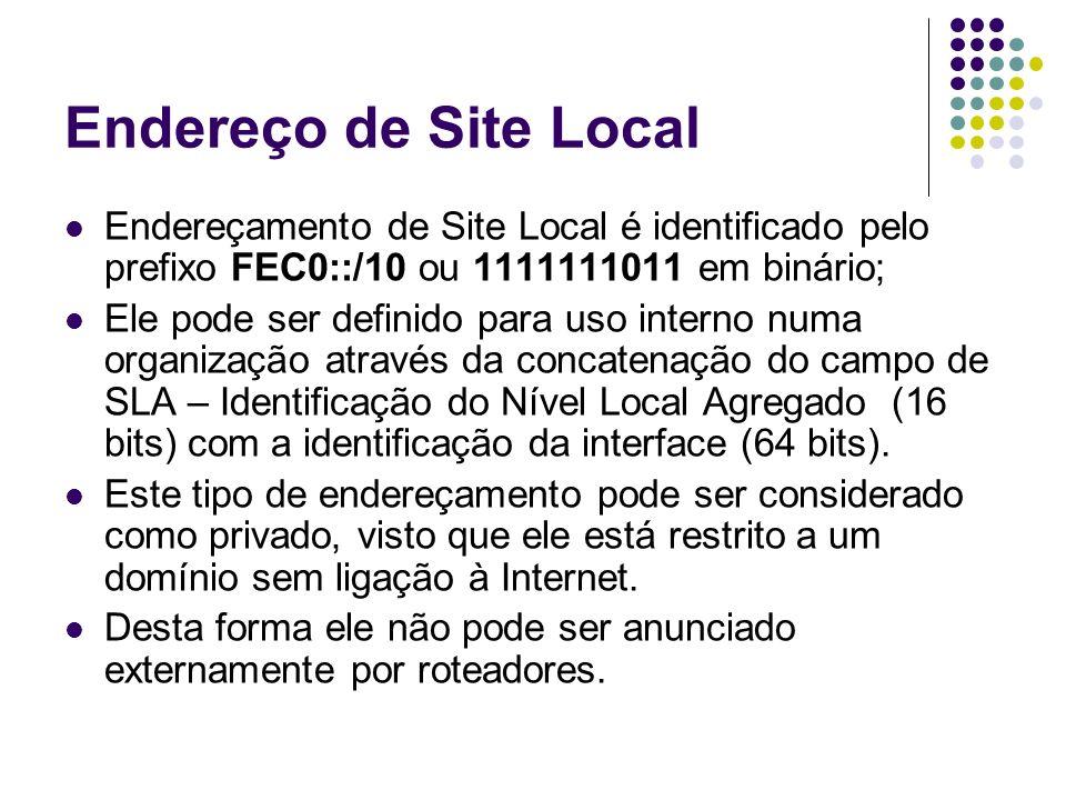 Endereço de Site LocalEndereçamento de Site Local é identificado pelo prefixo FEC0::/10 ou 1111111011 em binário;