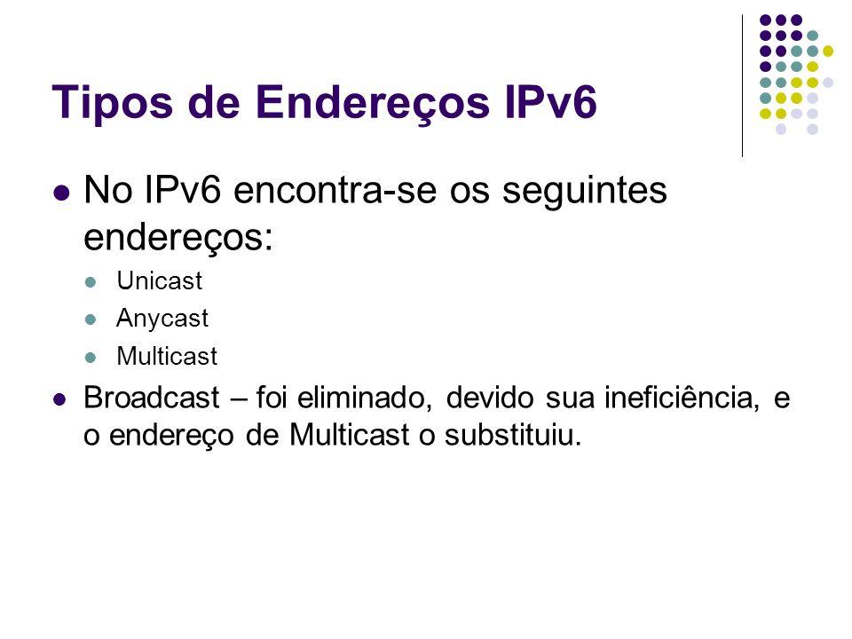 Tipos de Endereços IPv6 No IPv6 encontra-se os seguintes endereços: