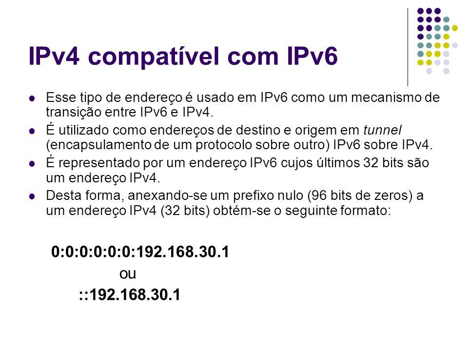 IPv4 compatível com IPv6 0:0:0:0:0:0:192.168.30.1 ou ::192.168.30.1