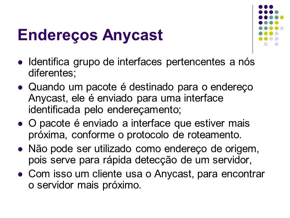 Endereços Anycast Identifica grupo de interfaces pertencentes a nós diferentes;