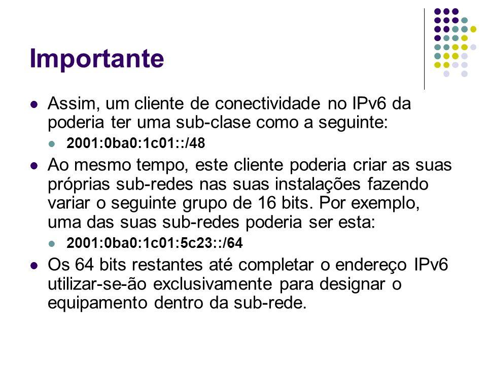 ImportanteAssim, um cliente de conectividade no IPv6 da poderia ter uma sub-clase como a seguinte: 2001:0ba0:1c01::/48.