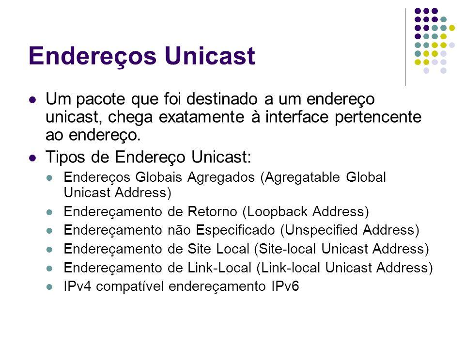Endereços Unicast Um pacote que foi destinado a um endereço unicast, chega exatamente à interface pertencente ao endereço.