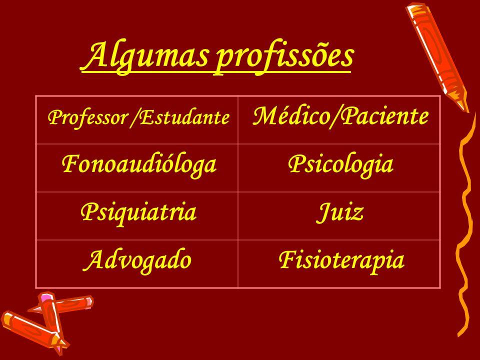 Algumas profissões Médico/Paciente Fonoaudióloga Psicologia