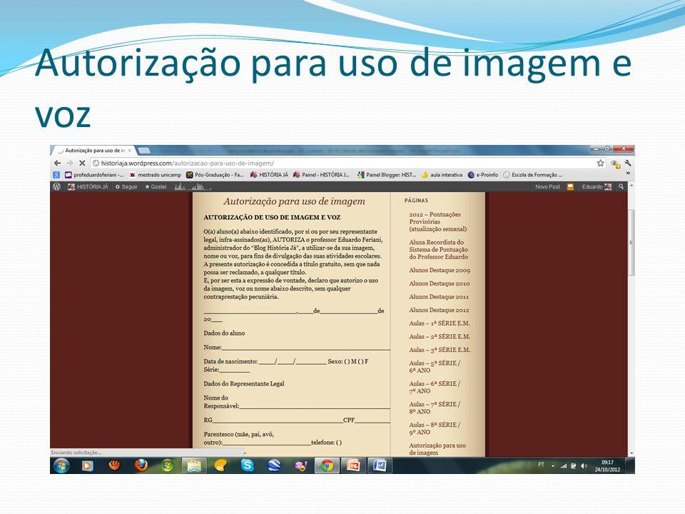 Autorização para uso de imagem e voz