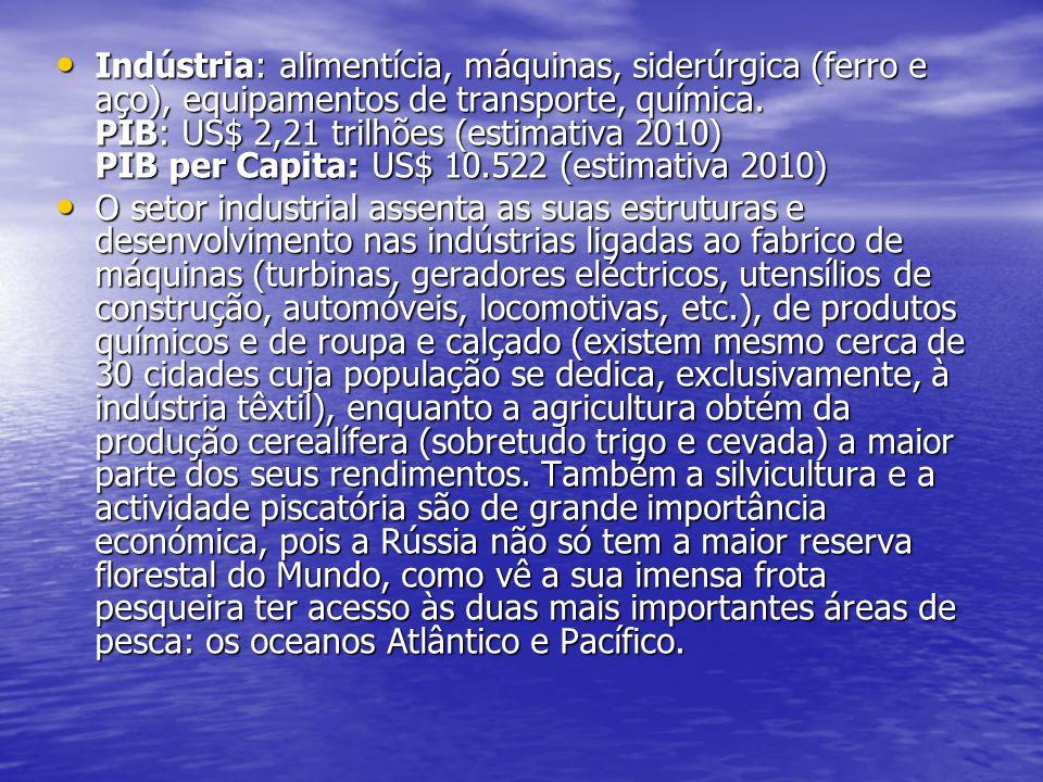 Indústria: alimentícia, máquinas, siderúrgica (ferro e aço), equipamentos de transporte, química. PIB: US$ 2,21 trilhões (estimativa 2010) PIB per Capita: US$ 10.522 (estimativa 2010)