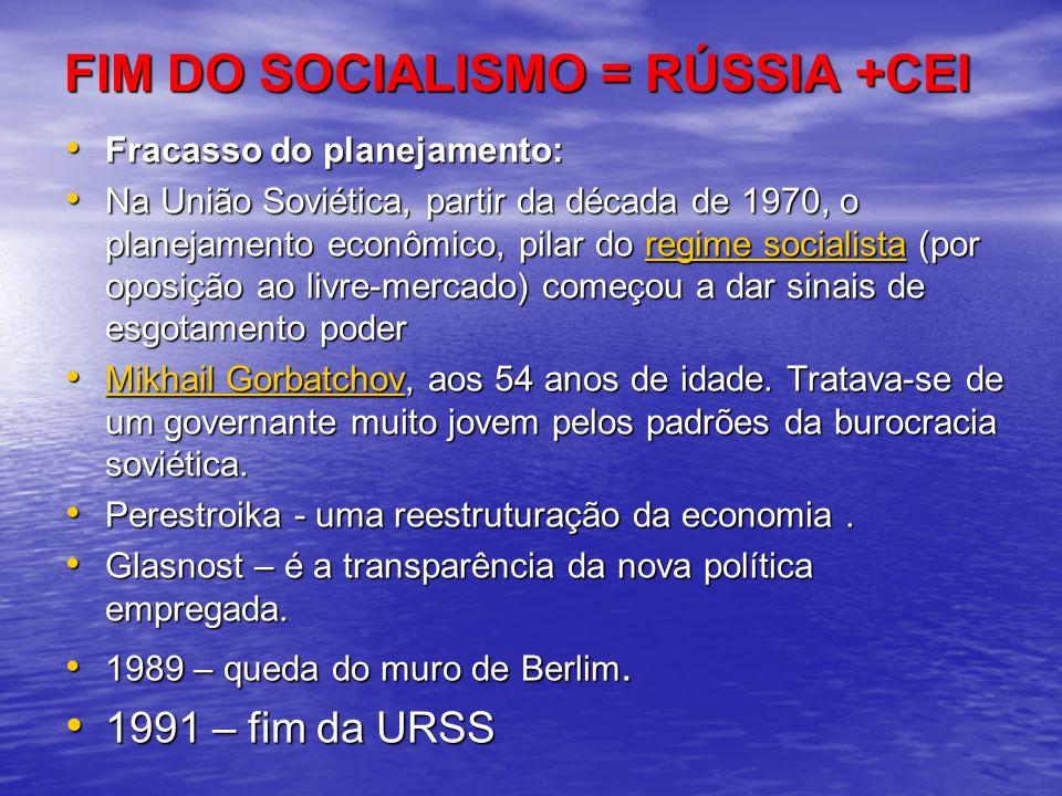 FIM DO SOCIALISMO = RÚSSIA +CEI