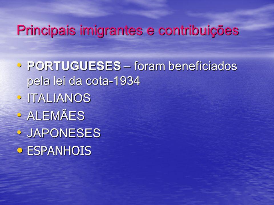 Principais imigrantes e contribuições