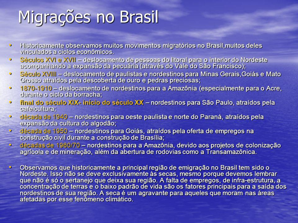 Migrações no Brasil Historicamente observamos muitos movimentos migratórios no Brasil,muitos deles vinculados a ciclos econômicos.