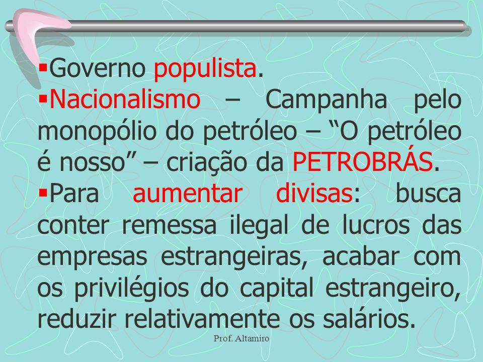Governo populista. Nacionalismo – Campanha pelo monopólio do petróleo – O petróleo é nosso – criação da PETROBRÁS.