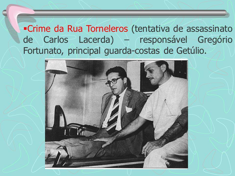 Crime da Rua Torneleros (tentativa de assassinato de Carlos Lacerda) – responsável Gregório Fortunato, principal guarda-costas de Getúlio.