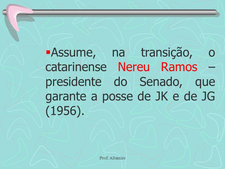 Assume, na transição, o catarinense Nereu Ramos – presidente do Senado, que garante a posse de JK e de JG (1956).