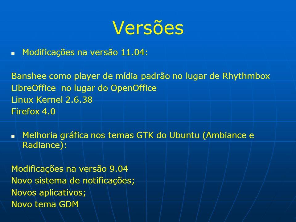 Versões Modificações na versão 11.04: