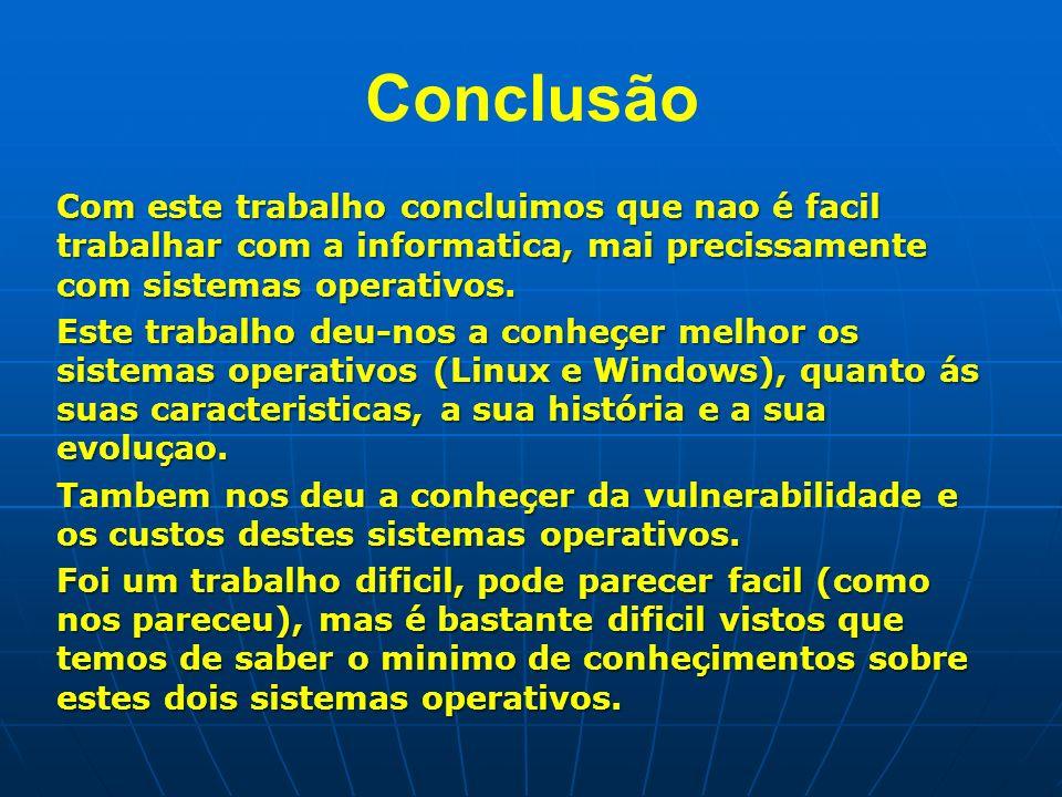 Conclusão Com este trabalho concluimos que nao é facil trabalhar com a informatica, mai precissamente com sistemas operativos.