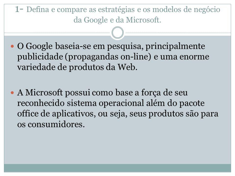 1- Defina e compare as estratégias e os modelos de negócio da Google e da Microsoft.