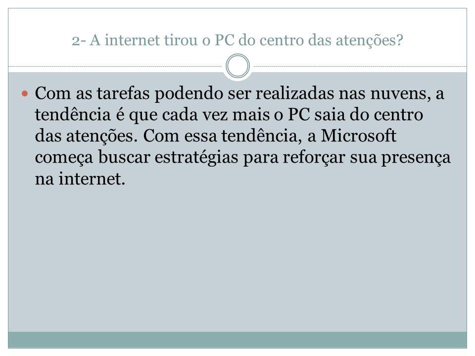 2- A internet tirou o PC do centro das atenções