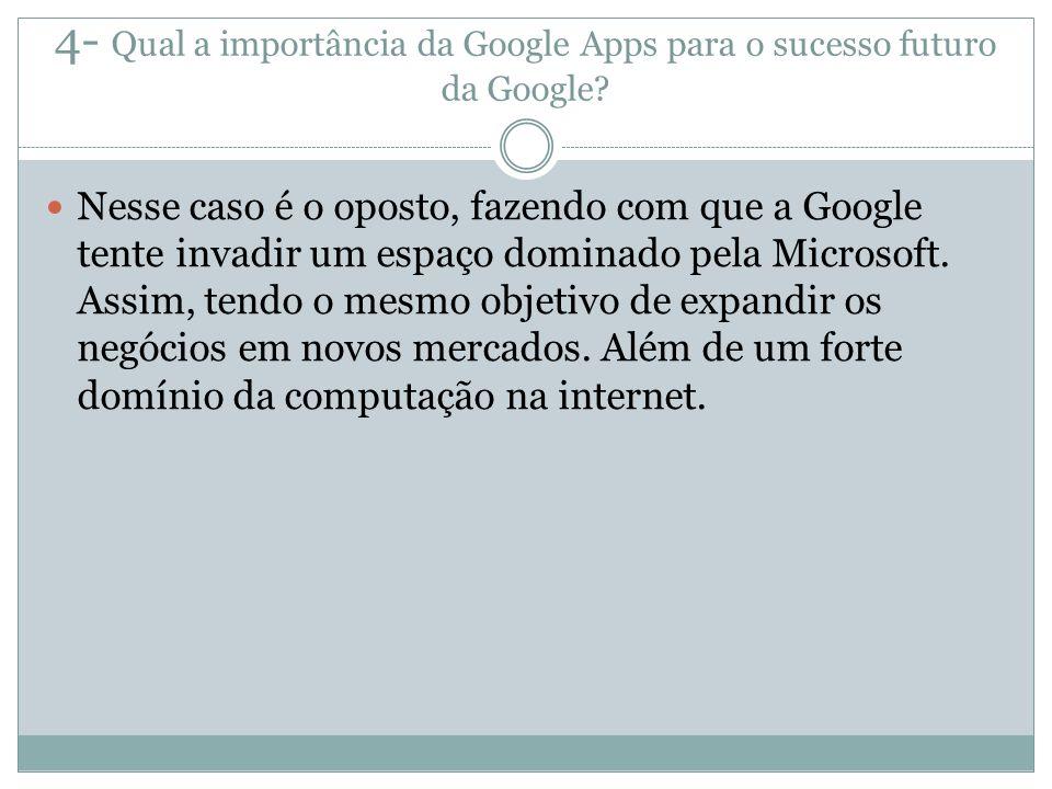 4- Qual a importância da Google Apps para o sucesso futuro da Google