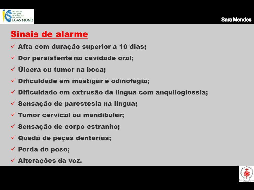 Sinais de alarme Afta com duração superior a 10 dias;
