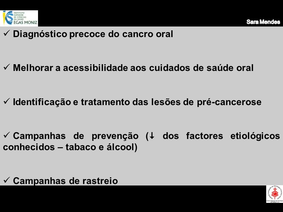 Diagnóstico precoce do cancro oral