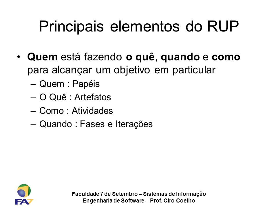 Principais elementos do RUP
