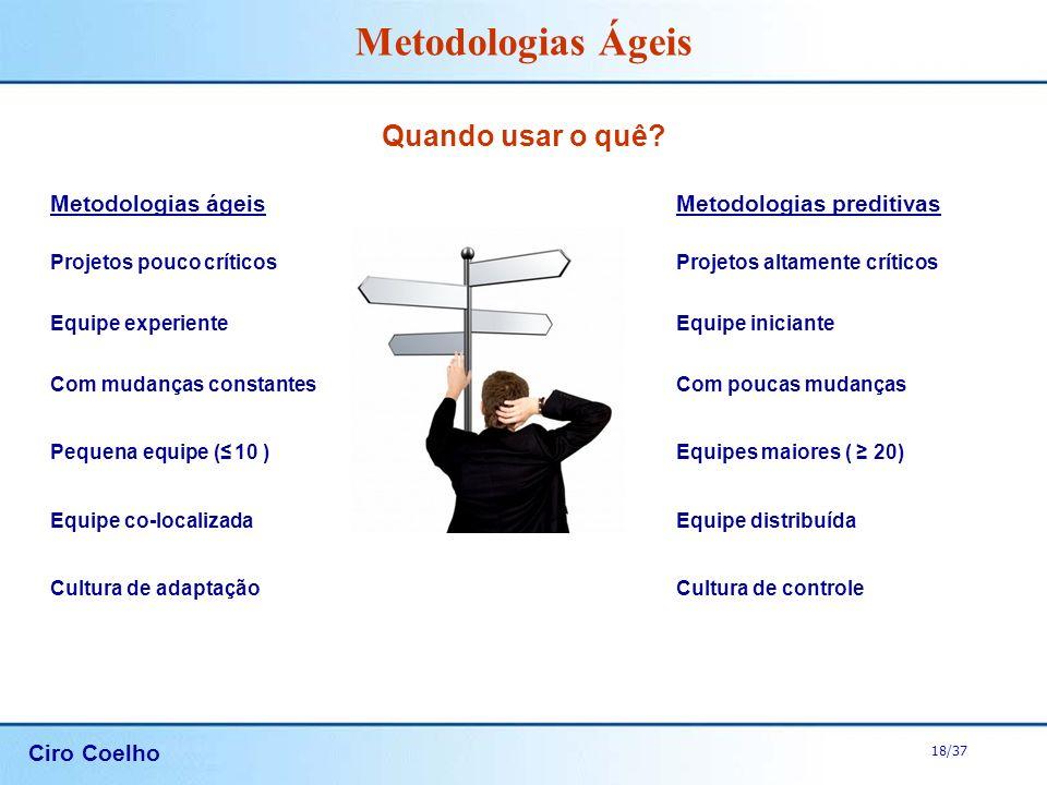 Quando usar o quê Metodologias ágeis Metodologias preditivas